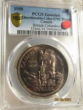 1958  CANADA  SILVER   DOLLAR..PCGS  GOLD   SHIELD ..  UNC   DETAILS..READ   ON.