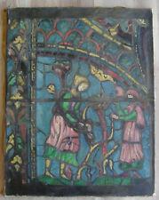 Huile sur toile école française fin 19ème début 20ème vitrail