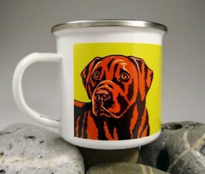 Labrador (chocolate) - single enamel mug with original illustration.