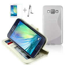 WHITE WALLET 4in1 Accessory Bundle Kit TPU Case Cover For Samsung Galaxy A3