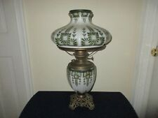 Antique Pittsburgh Glass Mission Arts & Crafts Parlor Table Oil Lamp Electric