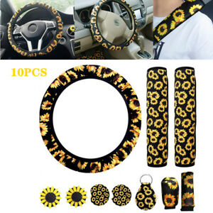 10X Polyester Fabric Sunflower Car+Steering Wheel Cover W/Seat Belt&Armrest Pad