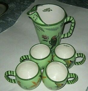 Lynn Chase PARROTDISE PITCHER and 4 MUGS