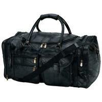 "LEATHER 25"" Carry-On Duffle Tote Black Overnight TRAVEL Gym Luggage Suitcase Bag"