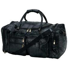 """LEATHER 25"""" Carry-On Duffle Tote Black Overnight TRAVEL Gym Luggage Suitcase Bag"""