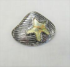 Silver Plated Sea Shell Starfish Pin Brooch Pendant Beach Nautical Summer