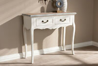 Baxton Studio Capucine Antique French Country Cottage Two Tone Natural Whitew...