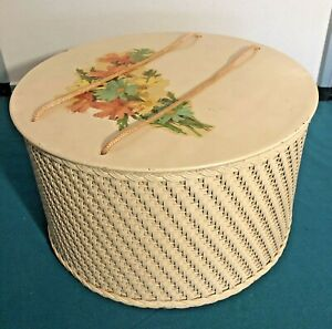 Vintage Princess Sewing Basket Yellow Woven Wicker W/ Sewing Accessories