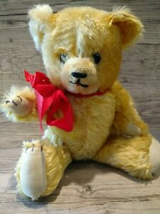 """Vintage Golden Long Mohair Jointed Teddy Bear velvet paws Stitch nose tongue 13"""""""