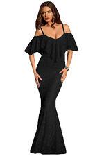 NEW BLACK LACE OFF SHOULDER MERMAID DRESS STRAP RUFFLED MAXI DRESS size 10-12