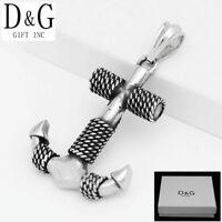 DG Men's Stainless Steel,Silver Black Anchor Rope Charm Pendant*Unisex + Box