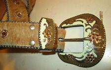 LEATHEROCK USA Blond Cowhide Fur Leather & Rhinestone Studded Belt Size M34