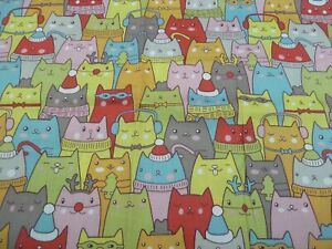 100% Cotton Fabric FQ - Cool CATS
