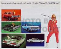 1967 Dodge Sales Catalog Original RT Coronet Charger Dart Polara Monaco Brochure