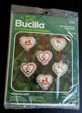 Vtg Nip Bucilla Christmas Heirloom Christmas Love 6 Hearts Ornaments Kit