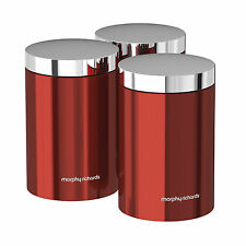 Morphy Richards 974069 Accents Set of 3 Tea Coffee Sugar Canisters Red -  New