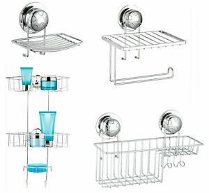 Super Suction Cup NO DRILLING Bathroom Shower Wall Storage Caddy Soap Dish Tidy