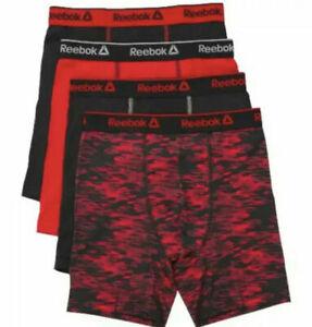 Reebok *4 PACK* Boys Stretch Boxer Briefs S M L XL Cool & Dry Underwear Sport