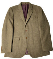 Charles Tyrwhitt Mens Wool Tweed Sports Long Coat Brown Size 42 Slim