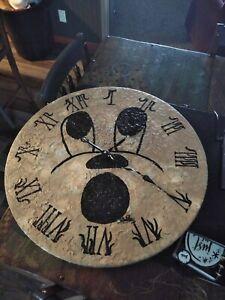 Halloween , Moon, Clock, Face, Wood , Metal Handles,