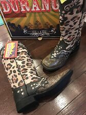 Durango Crush Leopard Leather Cowgirl Western Boots DCRD129 Women's 6.5 M