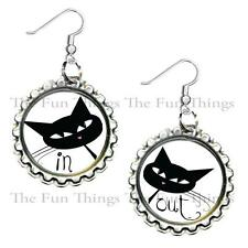 In One Ear Out the Other Cat Children's Bottle Cap Earrings Handcrafted Jewelry