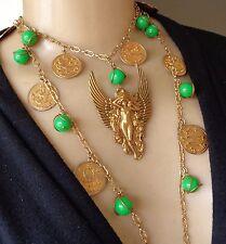 Vintage Necklace Nouveau Winged Angel Pendant Long Chain W/ Zodiac Coins