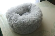 """Donut Gray Furry Cat Dog Bed 15"""""""