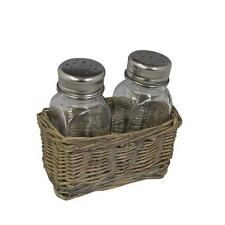 Salt and Pepper Shaker Set in Wicker Basket Pot Shabby Chic Rustic Country