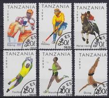 Sport Tansania Mi Nr. 1467 - 1472, gest, Fußball, Hockey, Reiten, Wasserspringen