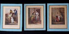 3 gravures aquarellées anciennes Cries of london engraving painted  XIX