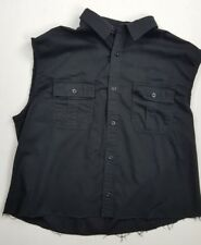 LEVI'S front BUTTON DOWN large SLEEVELESS SHIRT black 2 pockets