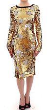 NWT $18800 DOLCE & GABBANA Gold Sequined Star Swarovski Crystal Dress IT44 /US10