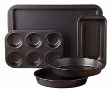 5 Piece Bakeware Set Kitchen Baking Loaf Muffin Pan Cake Pans Cookie Sheet