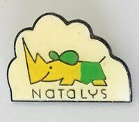 Natalys Cartoon Rhino Animal Lapel Pin Badge Vintage (C9)