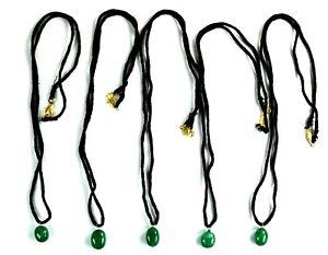 """Emerald Gemstone Handmade Pendant 13"""" Long/ 5 Pcs Natural Certified Best Deal"""