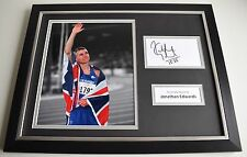 Jonathan Edwards SIGNED FRAMED Photo Autograph 16x12 display Triple Jump COA