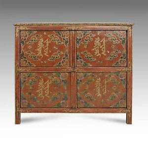 RARE ANTIQUE CABINET PAINTED PINE WOOD TIBET BUDDHISM CHINESE FURNITURE 19TH C.
