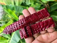 20/18, Red Brown Hornback CROCODILE watch strap band,  GENUINE ALLIGATOR LEATHER