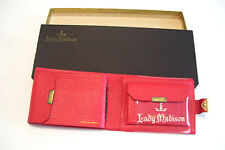 Vintage Red Lady Madison Leather Wallet Canada New in Box English Moroccan
