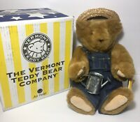 "Vintage Vermont Teddy Bear Farmer Garden 17"" Jointed Plush MINT with Booklet Box"