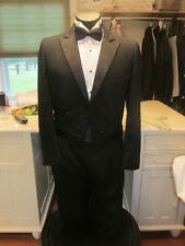 MENS VINTAGE PEAK LAPEL BLACK TAIL TUXEDO FABIAN 39R 4 PCS NB40