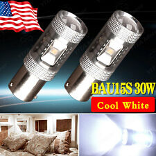 2x Cool White BAU15S PY21W 7507 High Power 30W LED Projection Turn Signal Lights