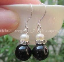 Pearl 925 Sterlings Silver Dangle Earrings 1 Pair 12mm Natural Black Agate White