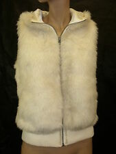 Ladies Faux Fur Hooded Vest in Ivory Color Size 36