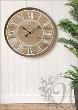 Reloj de Pared de Madera Francés Vintage Blanca número romano 80 cm Pantalla Grande De Hierro