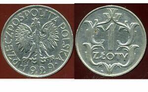 POLAND  POLOGNE 1 zloty 1929  ( etat )