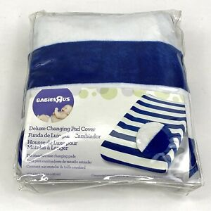 Babies R Us Deluxe Changing Pad Cover Blue White Striped New In Package 16x34