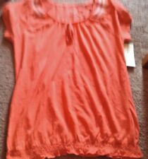 NWT sonoma  life + style coral  new sz ps petite small embroidered scoop neck