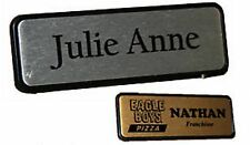 Personalised NAME BADGE PIN BACK 6.4x1.9cm Name tag WORK BADGES custom name logo